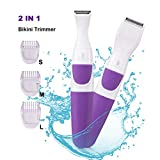Bikini Trimmer for Women Electric Hair Shaver 2 IN 1 Cordless Ladies Shaver Foil Razor Female Hair Removal Groomer, Waterproof Wet & Dry for Face Armpit Legs Bikini Line (Purple)