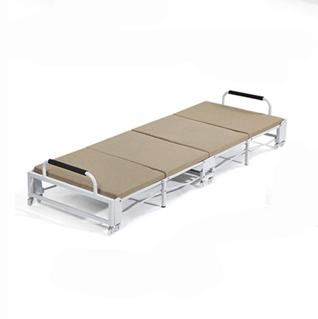 GuanBed Leinen Klappbett Büro Mittagessen Bett Stuhl Portable Single Home Verstärkung Einfache und langlebige wirtschaftliche Klappbett (Color : Khaki, Size : 90cm)