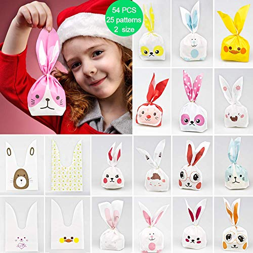 (DEKERO Kids Party Bags,50pcs 2 Size 25 Types of Patterns for Kids Birthday Christmas Goodies Cute Rabbit plasticbags USE for Gift,Candies,Small)