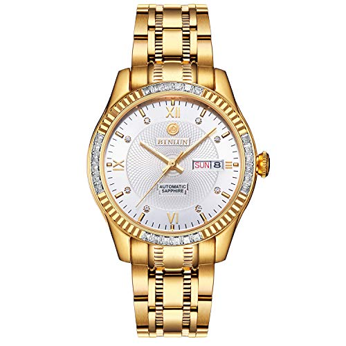 BINLUN 18K Gold-Plated Men's Luxury Watch Japanese Automatic with Calendar Waterproof Watches for Men with White Dial ()