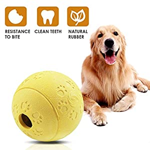 Aritan Interactive Food Dispensing Dog Rubber Toy Ball,Large 3.2″, 100% Non-Toxic Chew Toys for Pet Tooth Cleaning, Chewing, Playing, Pet Exercise Game Ball IQ Training Ball