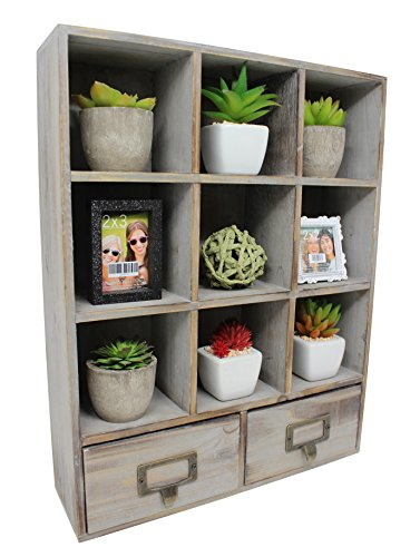Vintage Rustic Torched Wood Cubby Storage Wall Mountable Shadow Box Frame Display Shelf with 9 Compartments and 2 Drawers - Farmhouse/White Washed Home Decor Shelf for Kitchen, Bedrooms, or Bathroom