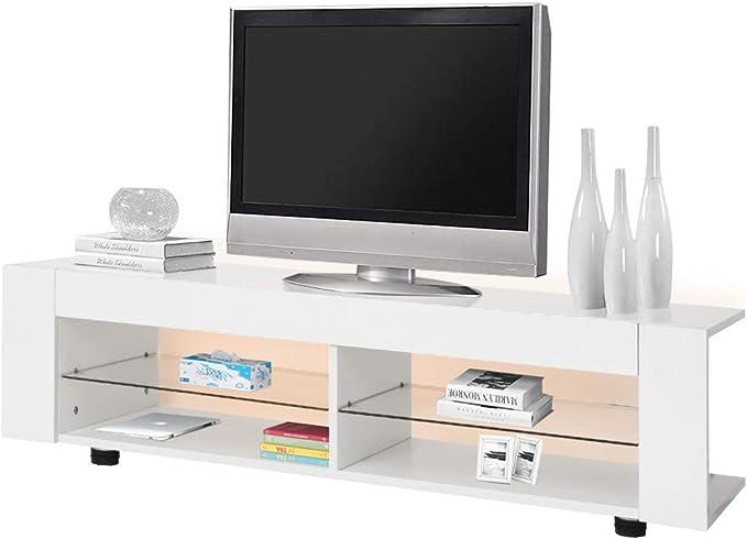 Cocoarm Mueble para televisor con iluminación LED, Color Blanco ...