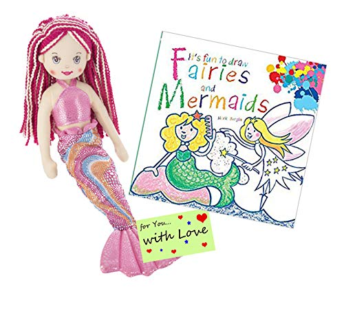 Ganz Drawing Set: It's Fun to Draw Fairies and Mermaids w Stuffed Mermaid Doll Marlowe with Red Hair for Young Girls who Want to Learn How to Draw Fairies and How to Draw Mermaids with a Friend from Ganz
