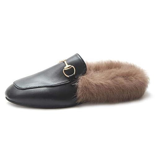 Mujeres Invierno PU Mocasines Zapatillas de Piel de imitación cálida Mule Peludo Antideslizante Mule Interior Zapatos de algodón al Aire Libre: Amazon.es: ...