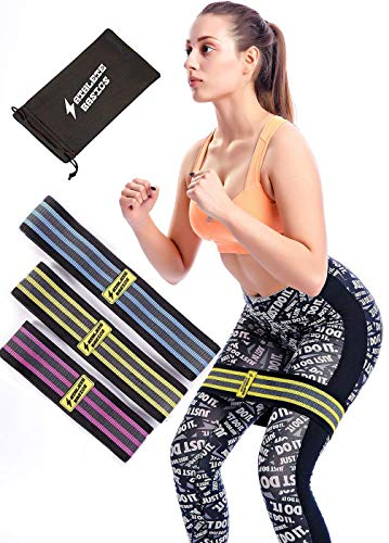 Athlete Basics 3-Piece Fabric Hip Slingshot Bands - Ideal for Women and Men to Maximize Workout, CrossFit, Yoga & More - Resistance Booty Bands for Legs, Shoulders and Arms