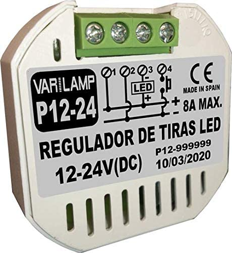 P12-24. Regulador de luminosidad a pulsadores para tiras de LED a 12-24VDC. 96W/12VDC y 192W/24VDC.