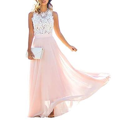 Beautygo Femme Elegante Maxie Robe Longue De Grande Taille Dentelles Sans Manches Bodycon Dress Rose De Cocktail Soiree Ceremonie Mariage