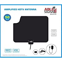 Able Signal 50 Miles Amplified Indoor HDTV Antenna Thin Flat Reversible Black and White VHF UHF FM