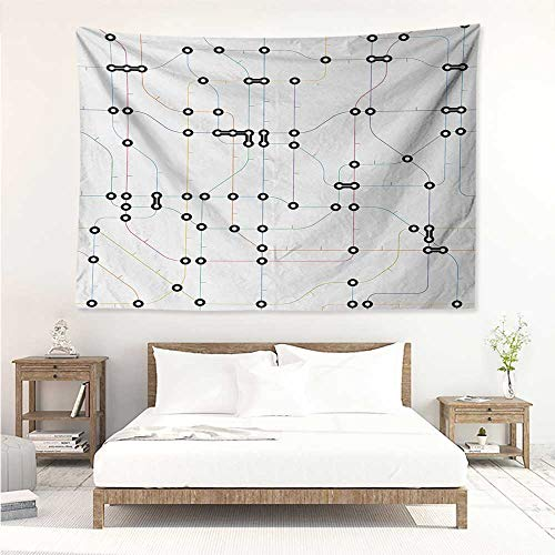 alisos Map,Wall Decor Tapestry Colorful Thin Lines Metro Scheme Transportation Network Diagram Outline Urban City Life 60W x 51L inch Tapestry Wallpaper Home Decor Multicolor