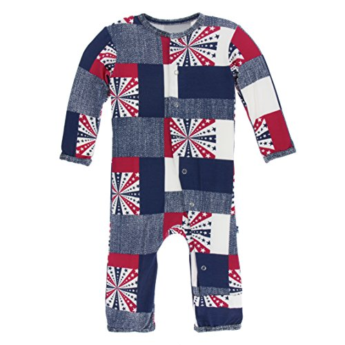 Kickee Pants Little Boys Print Coverall With Snaps - Patchwork, 3-6 Months