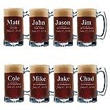 Set of 3, Set of 5 Set of 7 and more Personalized Groomsmen Beer Glasses - Custom Engraved Groom, Best Man Gift Mugs - 3 Lines Style 12 oz (8)
