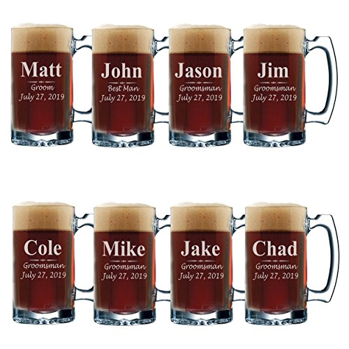 Set of 3, Set of 5 Set of 7 and more Personalized Groomsmen Beer Glasses - Custom Engraved Groom, Best Man Gift Mugs - 3 Lines Style 12 oz (8) by My Personal Memories