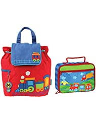 Stephen Joseph Boys Quilted Train Backpack and Lunch Box for Kids