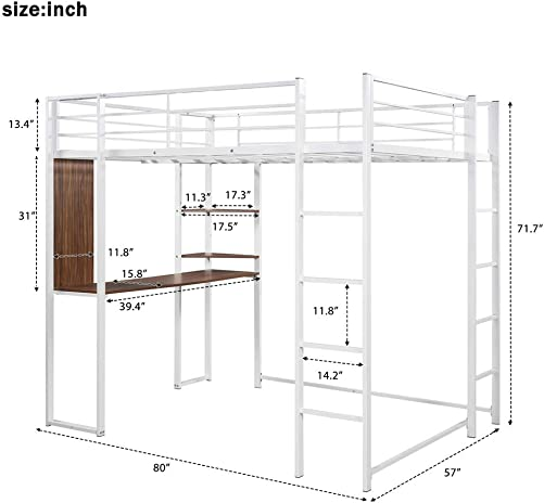 Full-Size Loft Bed Metal Frame