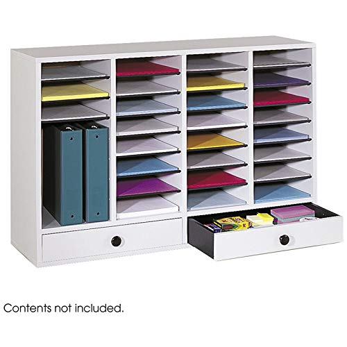 Pemberly Row Office/Classroom 32 Compartment Literature Mailbox Organizer with 2 Storage Drawers, Light Grey