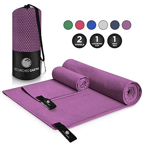 strong ScorchedEarth Microfiber Travel  Sports Towel Set (Ultra Violet) - Large Set (30x60  12x24)