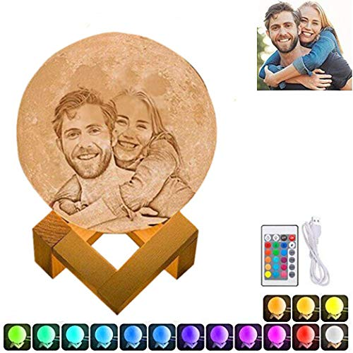 16 Colors Personalized Photo Night Light Customized 3D Printing USB Charging Moon Lamp Moon Light Night Light for Kids Gift for Women Mother's Day Gift(White 7.1inch/18cm)