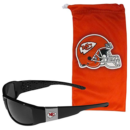 NFL Kansas City Chiefs Chrome Wrap Sunglasses and Bag, Adult Size, Black ()