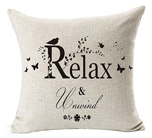 Warm Inspirational Words Love Family Home Be Relax Cotton Linen Throw Pillow Case Cushion Cover Home Sofa balcony Decorative 18 X 18 Inch (Inspirational Word)
