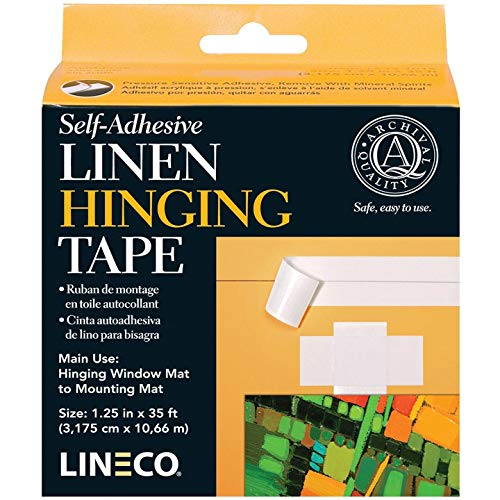 Brown Matboard - Lineco Self Adhesive Linen Hinging Tape 1.25 in. x 35 ft. white linen tape