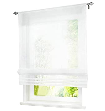 1Pc Store Romain Passe Tringle LxH/100x155cm Blanc Pan Plissé Rideau  Voilage Raffrollo Décoration de Fenêtre Chambre / Salle de Bain / Balcon