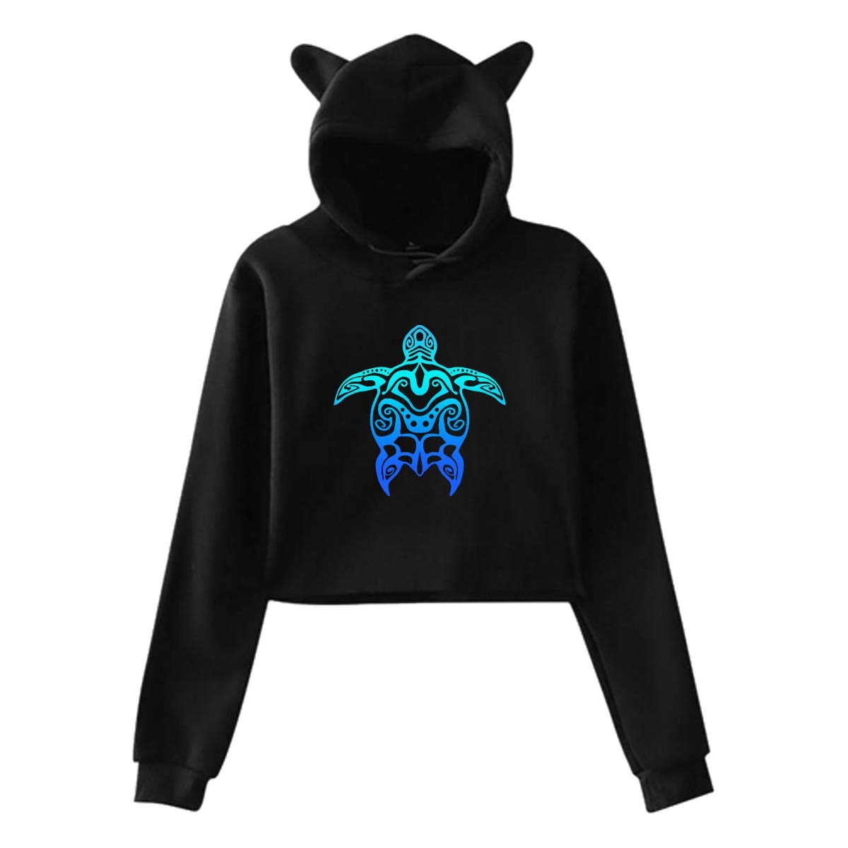 Cat Ear Hoodie Sweater for Women Blue Hawaiian Sea Turtle