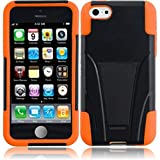 HR Wireless T-Stand Cover for iPhone 5C - Retail Packaging - Black/Orange