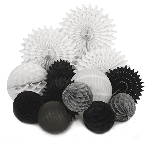 PAPER JAZZ 13pcs black white Paper Pom Poms Flowers lantern Wedding event Party Decoration