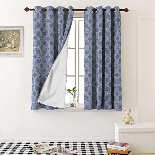 - shenglv Doodle Blackout Draperies for Bedroom Diagonal Squares Pattern Geometric Interwoven Shapes Ornamental Lace Illustration Curtains Kitchen Valance W72 x L63 Inch Blue Grey