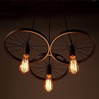 Retro Chandeliers Personality Innovative Style Of Iron Wheel Chandelier Minimalist American Rural Study Living Room Restaurant Cafe Lamps