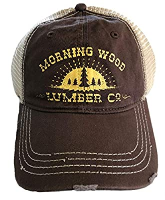 H3 Sportsgear Morning Wood Lumber Company Distressed Mesh Snapback Trucker Ball Cap Funny Hat Brown