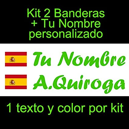 Vinilin Pegatina Vinilo Bandera España con Escudo + tu Nombre - Bici, Casco, Pala De Padel, Monopatin, Coche, Moto, etc. Kit de Dos Vinilos (Verde): Amazon.es: Coche y moto