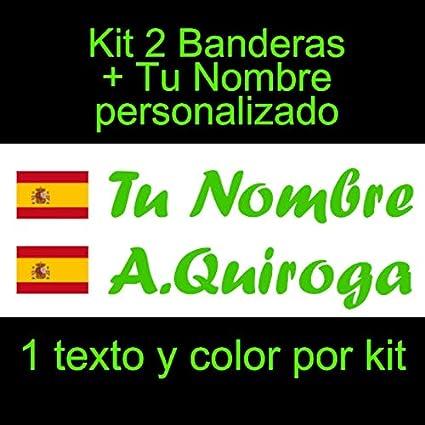 Vinilin Pegatina Vinilo Bandera España con Escudo + tu Nombre - Bici, Casco, Pala De Padel, Monopatin, Coche, Moto, etc. Kit de Dos Vinilos (Verde)