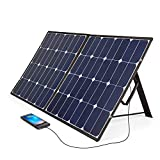 BougeRV 100 Watt 18V 12V Solar Panel SunPower Cell Solar Charger Foldable Portable Dual Output (5V/2A USB + 18V/5A DC), 10 Laptops Connectors Suitable for Smartphones, Tablet, Generator, RV, Boat