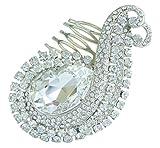 Sindary Hair Accessory 3.15'' Teardrop Wedding Hair Comb Silver-Tone Clear Rhinestone Crystal HZ6027