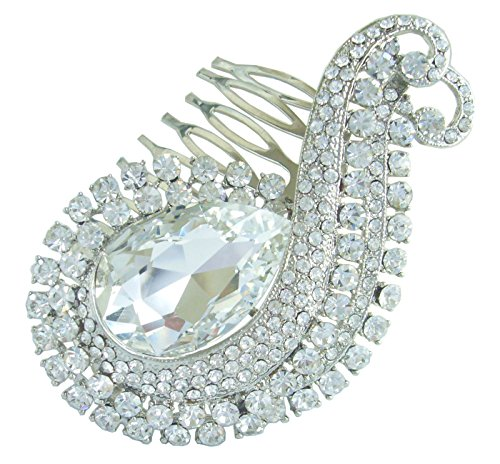 Sindary Hair Accessory 3.15'' Teardrop Wedding Hair Comb Silver-Tone Clear Rhinestone Crystal HZ6027 by Wedding Hair Accessories-Sindary Jewelry