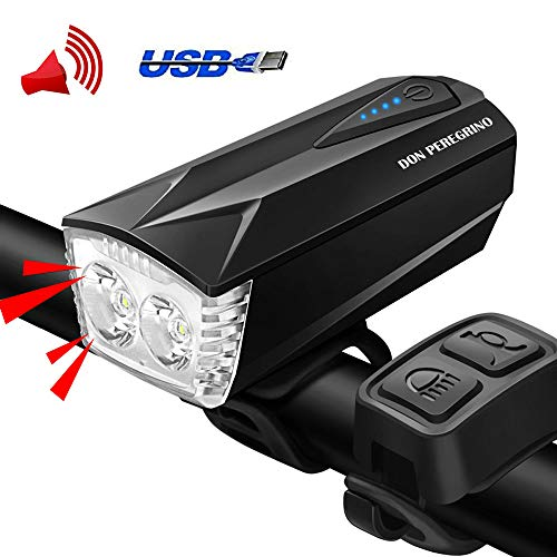 DON PEREGRINO H2 Powerful LED Bike Light with Horn, Waterproof Bicycle Front Light USB Rechargeable for Cycling Safety