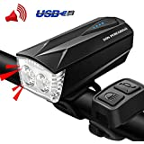 DON PEREGRINO LED Bike Lights Front and Back USB Rechargeable - Bicycle Headlight & Horn 2 in 1 with Taillight Red/Blue