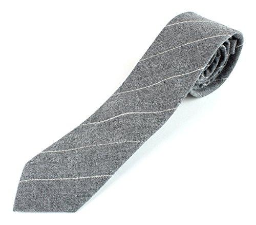 Men's Woven Linen Skinny Stiched Accent Necktie Tie - Gray