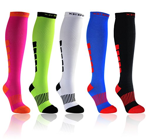 Soft Compression Socks for Men & Women. Comfortable for Nurses, Running, Crossfit, Shin Splints, Athletics, Soccer. (1 pair) Above Knee (Medium, Black)