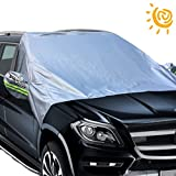Big Ant Windshield Sun Shade, Magnetic Car Sun Shade Elastic with Hooks Fixed Four Wheels & Reflective Warning Bar on Mirror Covers - Ice Sun Frost and Wind Proof in All Weather, Fit for Most Vehicle
