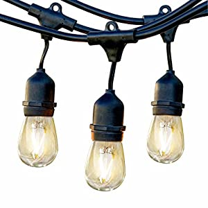 Brightech Ambience Pro LED Waterproof Outdoor String Lights with Hanging Sockets: Dimmable 2 Watt Bulbs - 24 Ft Market Cafe Edison Vintage Bistro Commercial Grade Strand for Patio Porch Garden -Blk