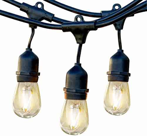 Brightech Ambience Pro LED Waterproof Outdoor String Lights - Heavy Duty, Hanging Vintage Edison Bulbs - Dimmable 2W, 48 Ft Patio Lighting/Cafe/Bistro Commercial Grade Strand for Market