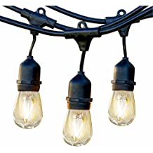 Brightech Ambience Pro LED Commercial Grade Outdoor Light Strand with Hanging Sockets - Dimmable 2 Watt Bulbs - 48 Ft Market Cafe Edison Vintage Bistro Weatherproof Strand for Porch Patio Garden -Blk