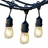 Brightech Ambience Pro Commercial Grade Outdoor Light Strand with Hanging Sockets, 1W LEDs - 48 Ft Market Cafe Edison Vintage Bistro Weatherproof for Patio Garden Porch Backyard Party Deck Yard –Black