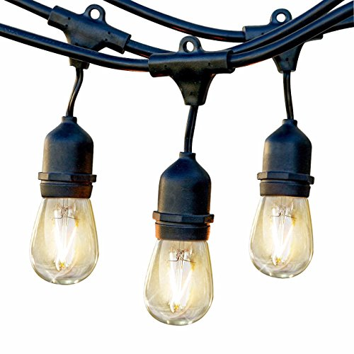 Brightech Ambience Pro LED Waterproof Outdoor String Lights - Heavy Duty, Hanging Vintage Edison Bulbs - Dimmable 2W, 48 Ft Patio Lighting/Cafe/Bistro Commercial Grade Strand for Market by Brightech