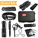 JINAGER Emergency Survival Kits 12-in-1, Outdoor Emergency Gear Kits with Folding Knife, Multi Plier, Flashlight, Survival Bracelet, Tactical Pen, for Traveling/Hiking/Biking/Climbing/Hunting