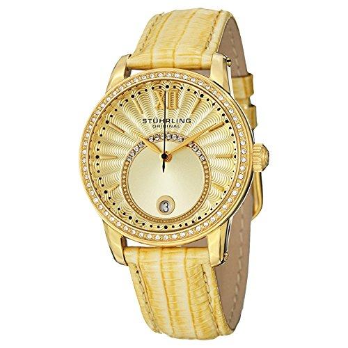 Stuhrling Original Women s 544.1135A15 Vogue Audrey Dawn Quartz Swarovski Crystal Date Gold Tone Watch
