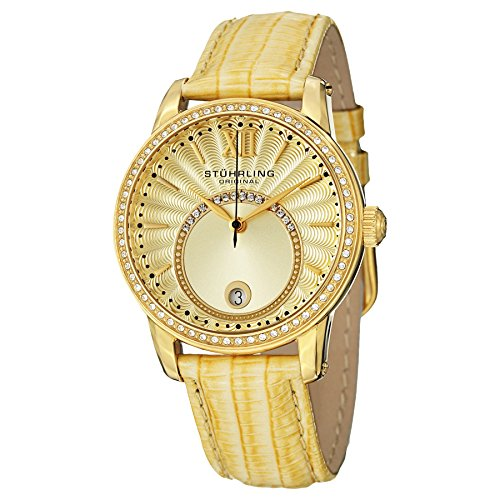 Stuhrling Original Women's 544.1135A15 Vogue Audrey Dawn Quartz Swarovski Crystal Date Gold Tone Watch